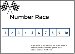 Fun homeschool math game #3: Number Race, with free printable