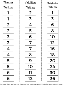 Addition and Multiplication Fact Yahtzee, with a free printable