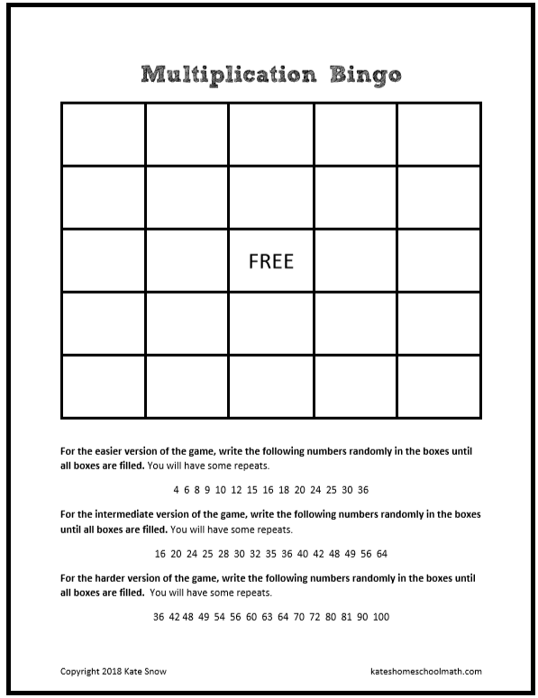 This is a picture of Massif Multiplication Bingo Printable